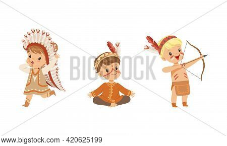 Set Of Preschool Kids Playing American Indians, Children Wearing Native Indian Ethnic Costumes Havin