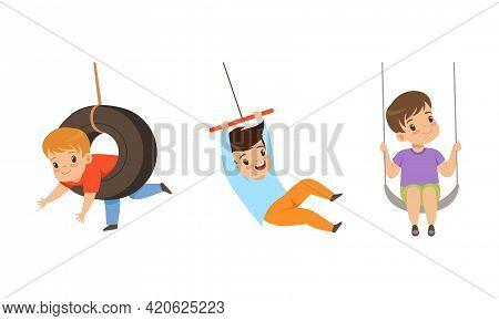 Set Of Preschool Kids Swinging On Rope Swings, Happy Children Having Fun Outdoors Cartoon Vector Ill