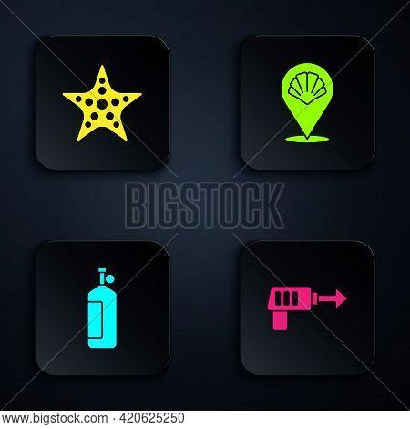 Set Fishing Harpoon, Starfish, Aqualung And Scallop Sea Shell. Black Square Button. Vector