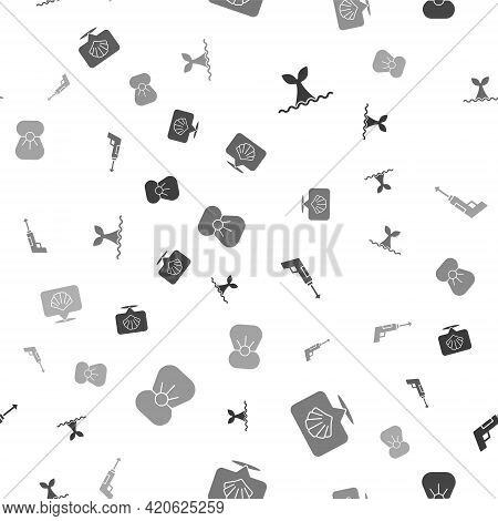 Set Whale Tail In Ocean Wave, Scallop Sea Shell, Fishing Harpoon And Shell With Pearl On Seamless Pa