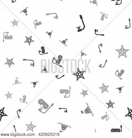 Set Snorkel, Floating Buoy On The Sea, Starfish And Diving Mask And Snorkel On Seamless Pattern. Vec