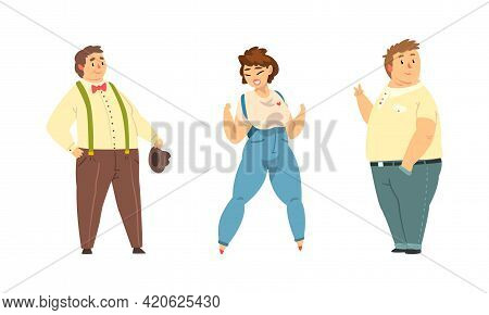 Set Of Happy Overweight People, Cheerful Plus Sie Male And Female Characters Wearing Casual Clothes,