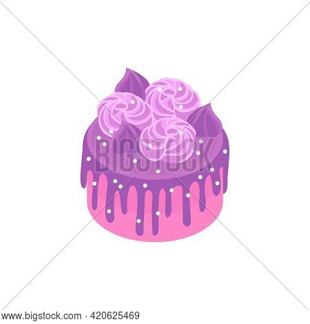 Yummy Cake With Purple Topping And Cream Roses Isometric Vector Illustration