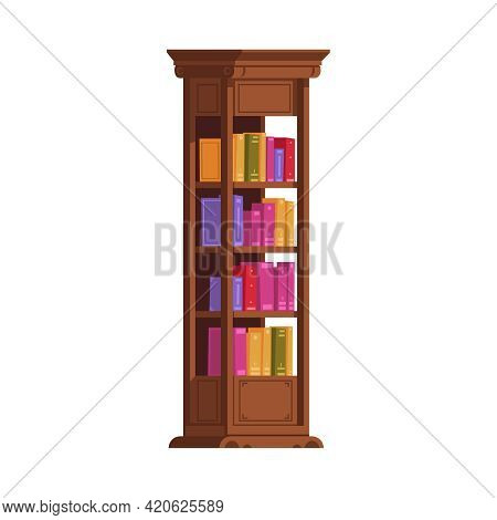 Old Library Interior Composition With Isolated Image Of Books Inside Vintage Cabinet Rack Vector Ill