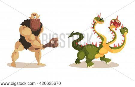Ancient Mythical Creatures Set, Cyclops Caveman With Cudgel, Three Headed Dragon, Cartoon Vector Ill