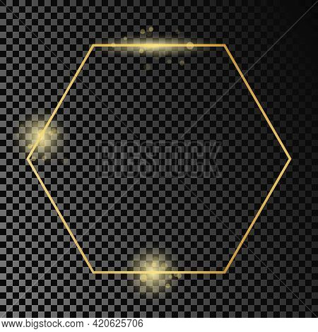 Gold Glowing Hexagon Frame Isolated On Dark Transparent Background. Shiny Frame With Glowing Effects