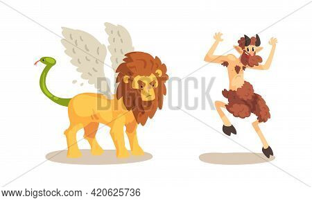 Ancient Mythical Creatures Set, Satyr Faun, Winged Lion Cartoon Characters Vector Illustration