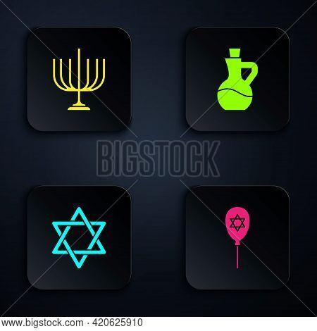 Set Balloon With Star Of David, Hanukkah Menorah, Star David And Bottle Olive Oil. Black Square Butt