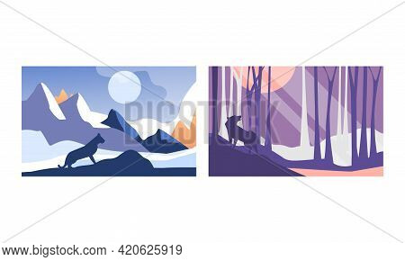 Beautiful Natural Landscape Set, Mountain And Forest Scenery With Puma And Wolf Wild Animals Vector