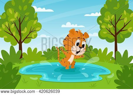 Cute Cartoon Tiger Jumping In A Puddle Or Swimming In A Lake. Summer Landscape. The Symbol Of The Ye