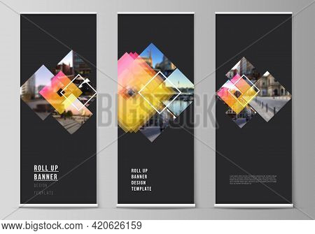 The Vector Illustration Of The Editable Layout Of Roll Up Banner Stands, Vertical Flyers, Flags Desi