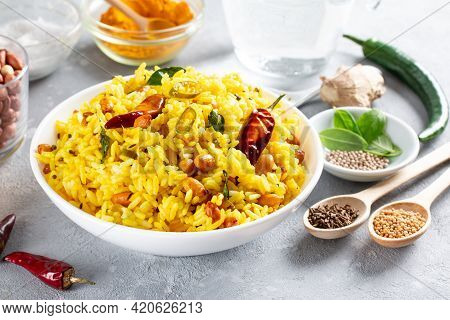 Indian Lemon Rice Traditional South Indian Food. Lemon Rice.chitranna Or Indian Lemon Rice, A Tradit