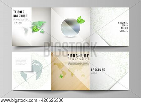 Vector Layout Of Square Format Covers Design Template For Trifold Brochure, Flyer, Cover Design, Boo