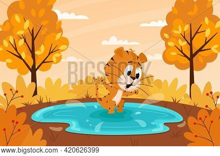 Cute Cartoon Tiger Jumping In A Puddle Or Swimming In A Lake. Autumn Landscape. The Symbol Of The Ye