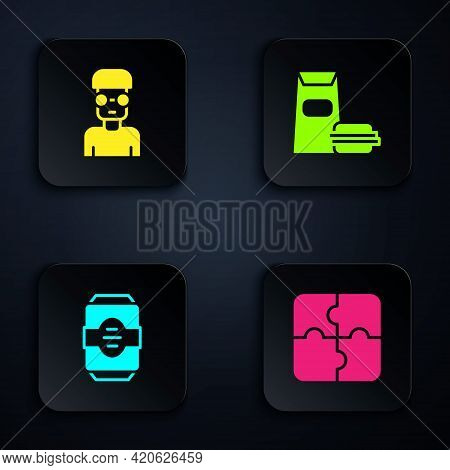 Set Piece Of Puzzle, Nerd Geek, Energy Drink And Burger. Black Square Button. Vector