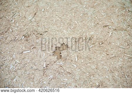 Background Of Adobe Clay Plaster Texture With Straw