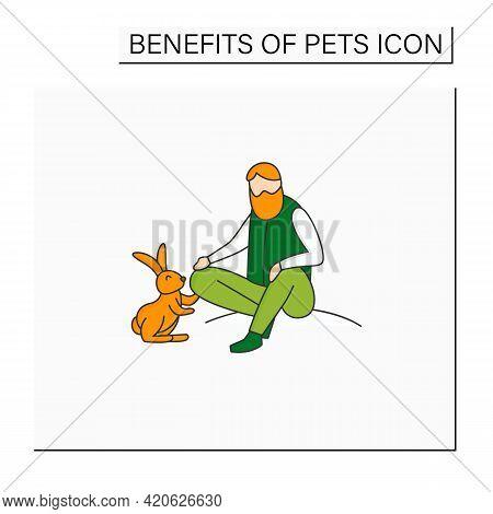 Pets Benefits Color Icon.man Pet Rabbit. Reduce Stress Level. Companionship. Animal Caring Concept.