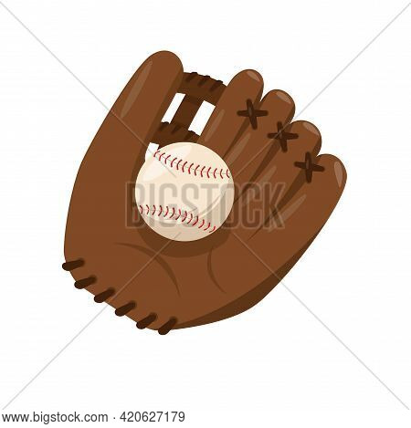 Baseball Leather Brown Catching Glove With Ball.