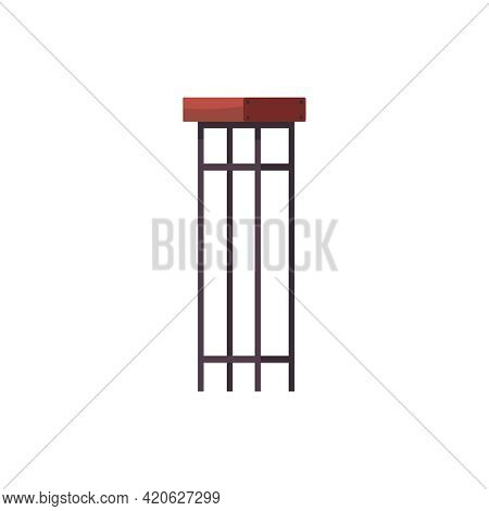 Bar Stool With Steel Legs Flat Icon On White Background Vector Illustration