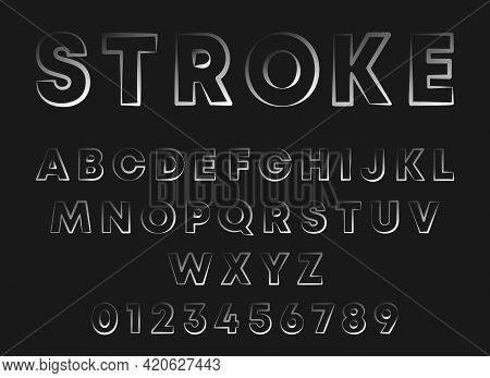 Stroke Line Design Alphabet. Letters And Numbers With Different Width Contour Lines. Stamp Stroke Fo
