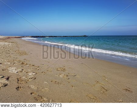 Beach And Sea. Seaside Landscape In The Summer