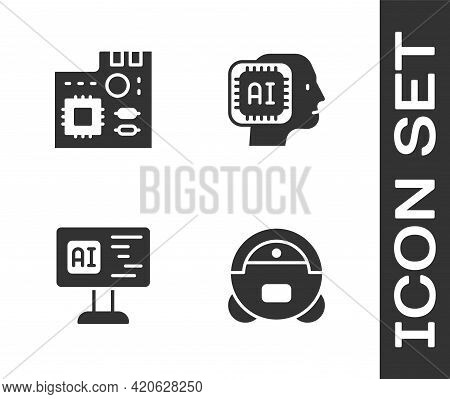 Set Robot Vacuum Cleaner, Motherboard Digital Chip, Software And Humanoid Robot Icon. Vector