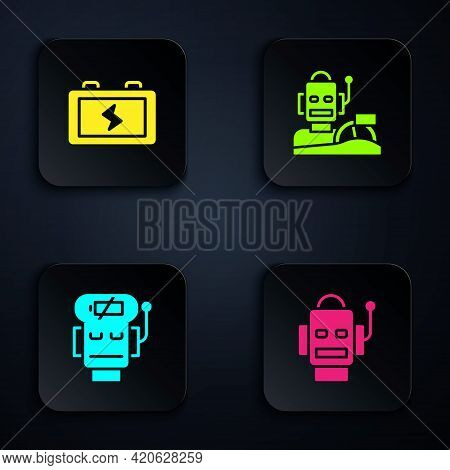 Set Robot, Battery, Low Battery Charge And Humanoid Driving Car. Black Square Button. Vector
