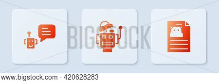 Set Robot, Bot And Technical Specification. White Square Button. Vector