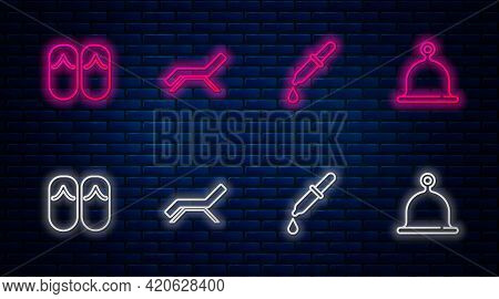 Set Line Sunbed And Umbrella, Pipette, Flip Flops And Sauna Hat. Glowing Neon Icon On Brick Wall. Ve
