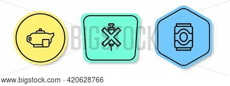 Set Line Teapot With Cup, No Doping Syringe And Soda Can. Colored Shapes. Vector
