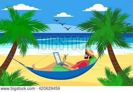 Man Lying On A Hammock With A Laptop With A Tropical Cocktail. Freelancer And Palms, Remote Work