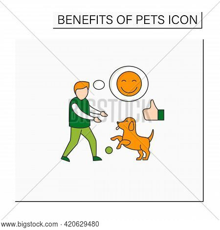 Pets Benefits Color Icon. Dog Play With Boy. Positive Emotions. Learn Responsibility, Compassion, Em