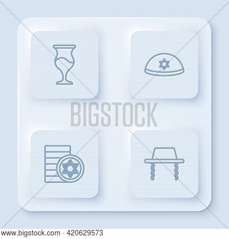 Set Line Jewish Goblet, Kippah, Coin And Orthodox Jewish Hat. White Square Button. Vector