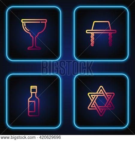 Set Line Star Of David, Jewish Wine Bottle, Goblet And Orthodox Jewish Hat. Gradient Color Icons. Ve