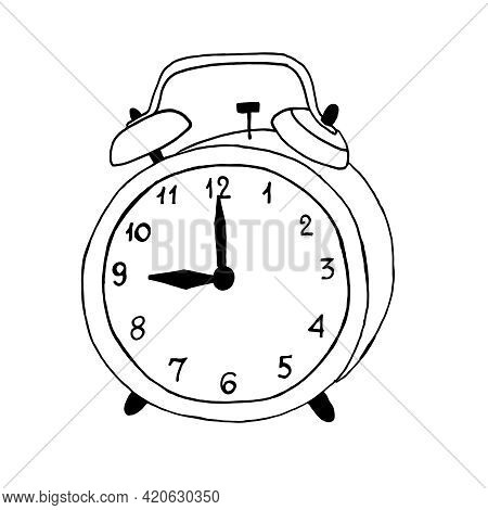 An Alarm Clock With A Doodle-style Dial. Black Outline On A White Background. Vector Illustration.