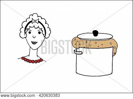 A Pot Of Yeast Dough And The Face Of A Woman, A Housewife, Isolated On A White Background. Flat Vect