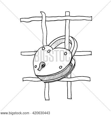 A Heart-shaped Lock Hangs On The Grate. Vector Illustration Of A Padlock