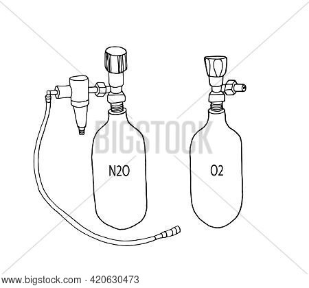 Medical Tanks With Oxygen And Nitrous Oxide With A Hose. Linear Gas Cylinder Icon, Contour Vector Il