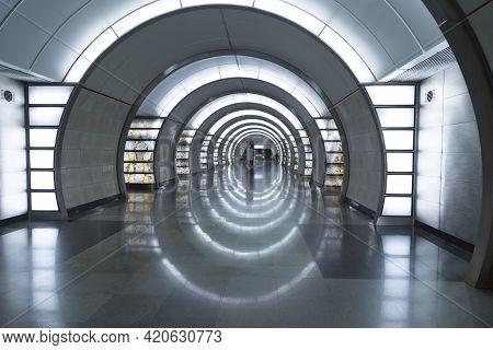 Moscow,russia, May 8,2021, Moscow Metro, Fonvizinskaya Metro Station. The Interior Of The Metro Stat