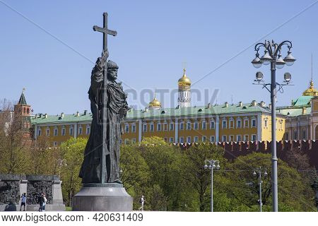 Moscow, Russia, May 11, 2021, Monument To Vladimir, The Baptist Of Russia In Moscow.