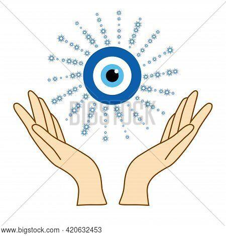 Illustration Of Mystical Goddess Hands,evil Eye, Celestial Symbols Of Moon Phase. Esoteric, Spiritua