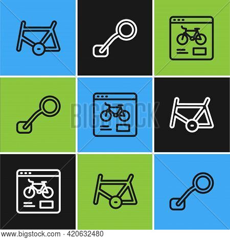 Set Line Bicycle Frame, Rental Mobile App And Rear View Mirror Icon. Vector
