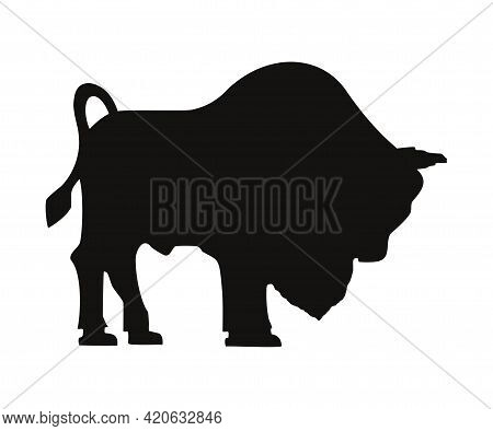 Bizon Silhouette Icon. Isolated On White Background. Bison Black Silhouette Shape For Logo, Emblem,
