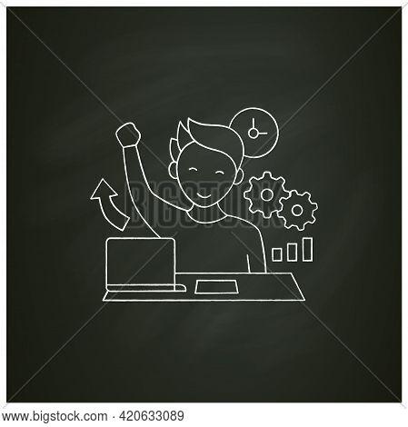 Overcome Procrastination Chalk Icon. Solve Work Problems. Fight Depression. Happy Person. Overload C