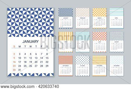 2022 Calendar. Vector. Week Starts Sunday. Calender Template. Yearly Organizer With 12 Month. Wall Y