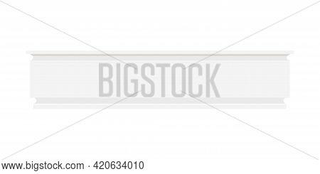 White Skirting Baseboard Molding Isolated On White Background.
