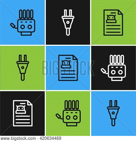 Set Line Mechanical Robot Hand, Technical Specification And Electric Plug Icon. Vector