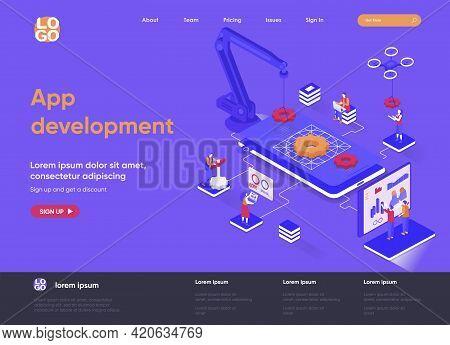 App Development Isometric Landing Page. Ui Ux Design, Prototyping, Engineering And Programming Appli