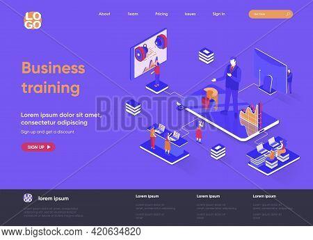 Business Training Isometric Landing Page. Business Education, Career Development Course, Motivation