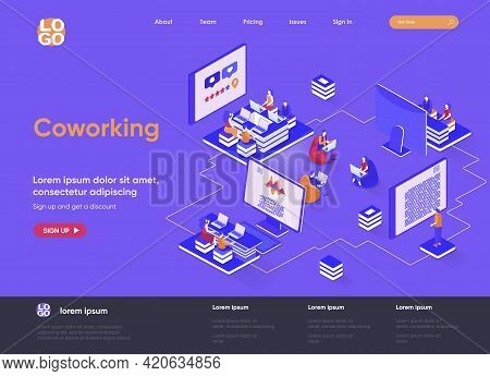 Coworking Space Isometric Landing Page. Freelancers Working With Laptops, Business Team Together In